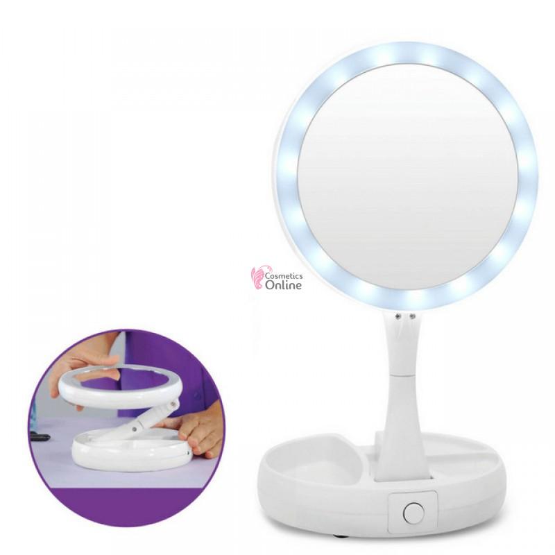 Oglinda Cosmetica Cu Lupa Si Lampa Led 1x 10x Cod Og002