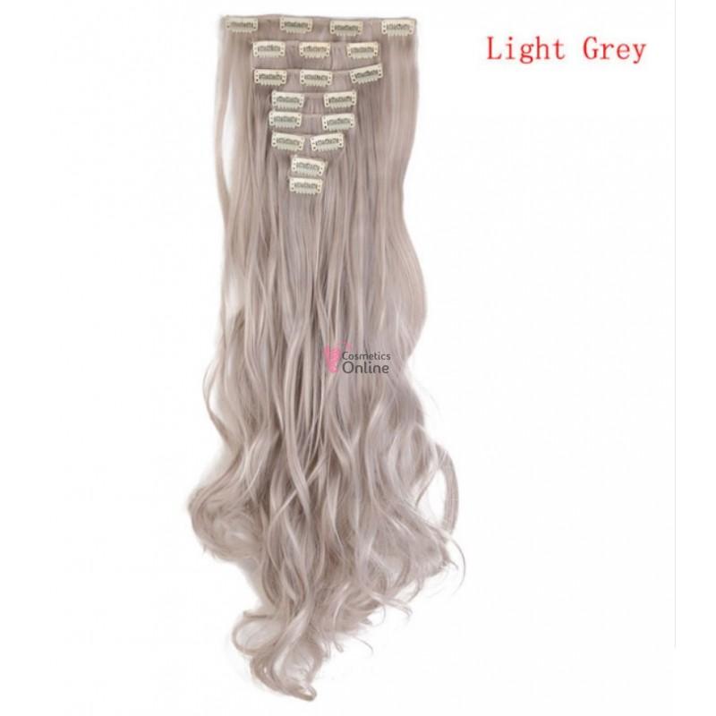 Extensii De Par Full Head 8 Piese Noilite Ondulat Light Grey 60 Cm T4502