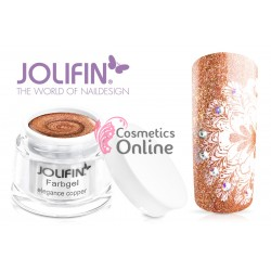 Gel UV Jolifin cu sclipici aramiu Elegance Copper 5 ml