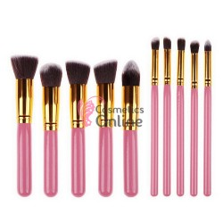 Pensule de Make-up 10 buc Roz Gold Profesionale