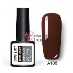 Oja semipermanenta LeMooc color UV / LED de 8 ml Cod A108 Brown