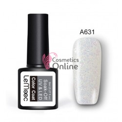Oja semipermanenta LeMooc color cu sclipici UV / LED de 8 ml Cod A631 Silver Glitter Mermaid