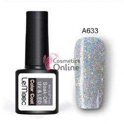 Oja semipermanenta LeMooc color cu sclipici UV / LED de 8 ml Cod A633 Silver Glitter Briliant