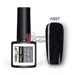 Oja semipermanenta LeMooc color cu sclipici UV / LED de 8 ml Cod A697 Black Galaxy