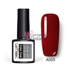 Oja semipermanenta LeMooc color UV / LED de 8 ml Cod A005 Bruno Red