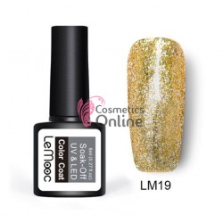 Oja semipermanenta LeMooc Platinum Effect UV / LED de 8 ml Cod LM19 Gold